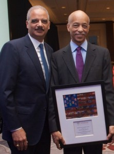 Servant of Justice Honoree Thomas S. Williamson, Jr., right, and Eric. H. Holder, Jr.