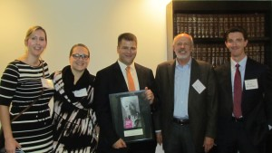 Joseph Patry, recipient of the Making Justice Real Pro Bono Award, with his colleagues from Blank Rome LLP, including Legal Aid Trustee John Heintz (2nd from right).