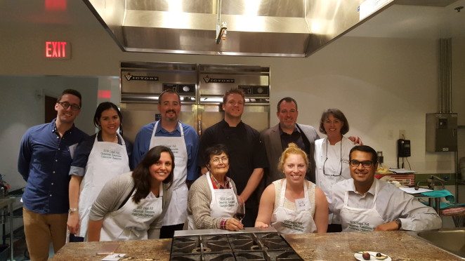 Back row, left to right: Jon Ripa, Karla Cortes, Alan Wilbur, Chef Ben Schramm, Chef Cedric Maupillier, and Chef Susan Holt. Front row, left to right: Sarah Ripa, Guity Deyhimy, Elizabeth Mickle, Ravi Sharma