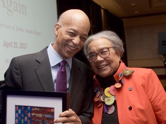Tom with fellow Servant of Justice Honoree Marian Wright Edelman