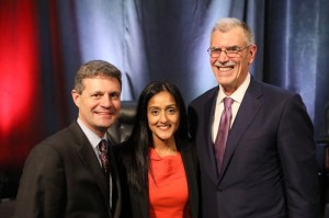 Legal Aid Executive Director Eric Angel with Servant of Justice Honorees Vanita Gupta and Donald B. Verrilli, Jr.