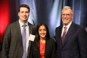From left to right: Klepper Prize recipient David Young with Servant of Justice Honorees Vanita Gupta and Donald B. Verrilli, Jr.