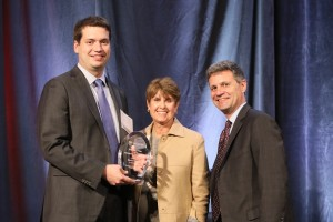 Klepper Prize recipient David Young with presenter Arlene Klepper and Executive Director Eric Angel